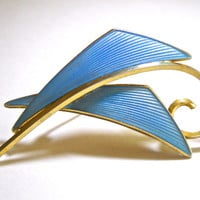 Norway Sterling Silver Brooch, Albert Scharning, Blue Enamel Guilloche, Overlapping Vintage