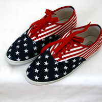 Vintage 90s American Flag Canvas Sneakers Keds Style US Women's Size 8.5 8 1/2