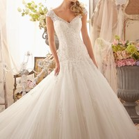Mori Lee 2619 Lace Sleeved Tulle Wedding Dress