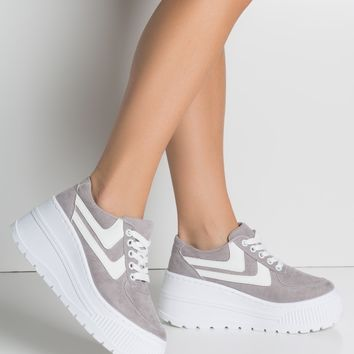 Faux Suede High Platform Sole Lace Up Flatform Sneakers in Grey