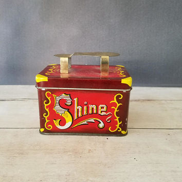 Shine Tin/ Shoe Shine Tin/ Vintage Tin/ Small Tin/ Tin Box/ Red Tin Box/ Five Cents/ Shine/ Vintage Tin/ Red and Gold Tin/ Small Storage box