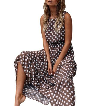 Dot Printing O Neck Long Women Dress
