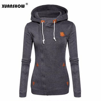 XUANSHOW 2018 Women Fashion Fleeces Sweatshirts Hooded Candy Colors Solid Sweatshirt Long Sleeve Zip Up Clothing Sudaderas Mujer