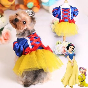 Snow White Dog Wedding Dress for Small Dog Princess New Pet Clothing Luxury Skirt Chihuahua York Puppy Outfit Ropa de Cachorro 2
