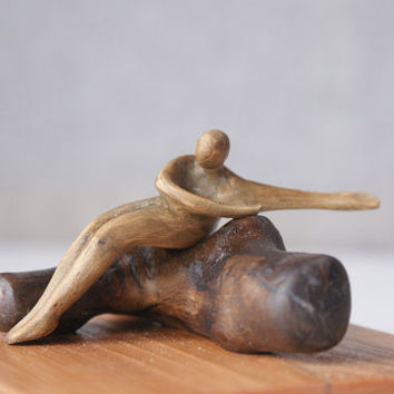 Wind melody - modern wood sculpture, ooak hand carved wood statue
