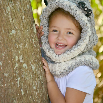 Wolf Cowl, Girl Cowl, Boy Cowl, Crochet Cowl, Crochet Hooded Wolf Cowl in Toddler, Child, and Adult Sizes, Made to Order