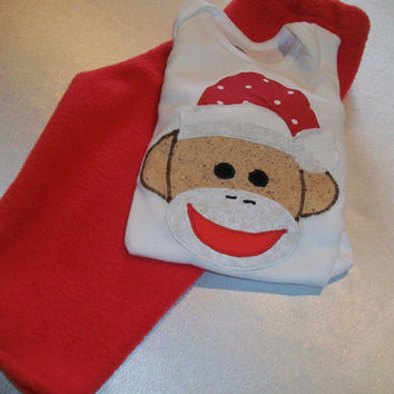 Christmas Baby Clothes -  Santa Sock Monkey Baby Outfit - Baby Holiday Wear