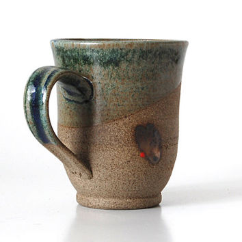 Mother's day gift / Pottery Mugs /  Ceramic Cups /  Brown Grained Clay / Blue-Green Glaze
