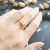 E-043 Hand Stamped Initial ring, Square ring, Hammered ring, Chain ring, Simple ring, Modern ring, Gold plated ring/Everyday/Gift/