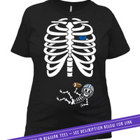 Halloween Pregnancy Shirt Maternity T Shirt Expecting Announcement Pregnant Skeleton Costume TShirt Football Baby Outfit Ladies Tee MAT-791