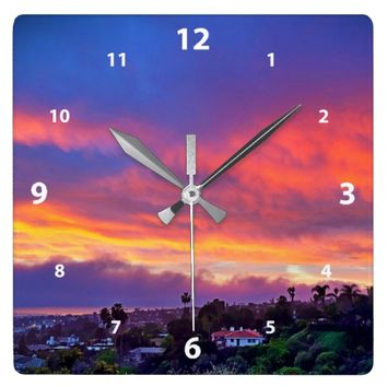 Pink blue & yellow clouds sunrise photo wall clock