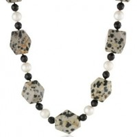 """Dalmatian Jasper, Faceted Black Agate Beads and White Freshwater Cultured Pearls Necklace, 18"""""""