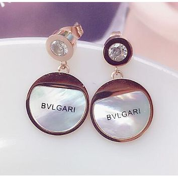 """Bvlgari"" Summer Stylish Women Shiny Diamond Circular Letter Titanium Steel Earrings Accessories I13284-1"