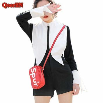 Qoerlin Office Jumpsuits Lady Flare Sleeve Button Shorts Romper Women Plus Size Work Overalls