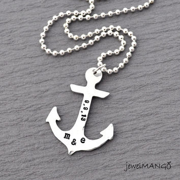 Personalized anchor necklace, keepsake necklace, hand stamping, special date, anniversary, wedding date, engagement, nautical, ball chain