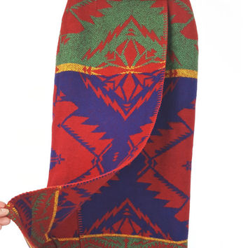 2 Ralph Lauren Skirt Polo Country Wool Indian Blanket Wrap Maxi Skirt Vintage Collectors Tribal Aztec Native American Wool Blanket Country