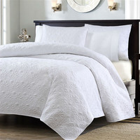 King size White Quilted Polyester Microsuede Coverlet Set