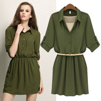Sleeve Button Up A-Line Collared Dress