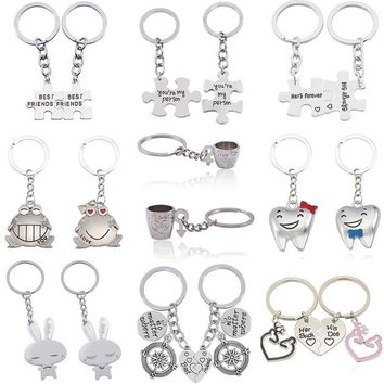 2 Pcs Love Couple Keychain You Are My Person Rabbit Frog Cups Key Chain Animal Heart Key Ring For Lovers Best Friends Llaveros