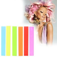 PRINCESS | A pack of 6 Hair Chalks for your highly vibrant hair coloring - turquoise, yellow, light green, red, orange & pink!