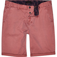 River Island MensPink slim chino shorts