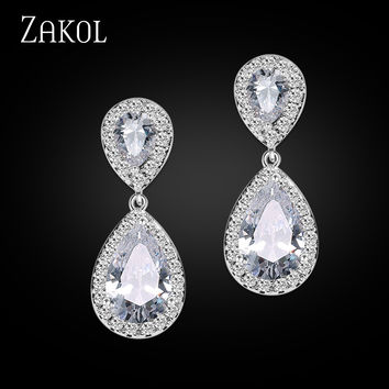 ZAKOL Nickle Free Women New Fashion Classic Style Water Drop Rhinestone Crystal Drop Bridal Earrings FSEP091