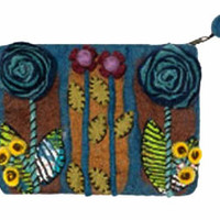 Rising Tide Felted Sheep Wool Sprout Flower Clutch in Teal