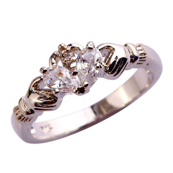 Claddagh Bride Water-Drop White Topaz Gemstone Silver Ring Size 6 7 8 9 10 11 12 = 1929293892