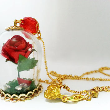 Enchanted Rose Necklace - Inspired by Beauty and the Beast. Magical Glass Terrarium Globe