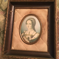 Vintage Cameo Picture in Mohogany Wood Frame with Satin Mat, Round Cameo Portrait, Victorian Woman Picture