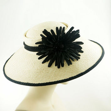 Natural PANAMA STRAW Hat / Vintage Style SAUCER Hat / Black Flower & Trim / Handmade by Marcia Lacher Millinery