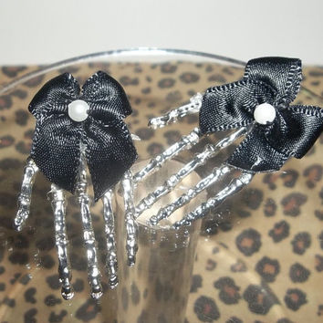 Emo Psychobilly Punk Skeleton Hands With Black Bow Earring Posts