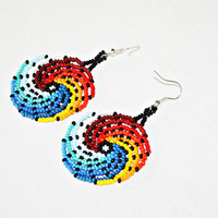 Beaded Huichol Earrings - Ying Yang Earrings - Fire and Water Wave Earrings - Surfer Chic Beach Jewelry - Native American - Native Earrings