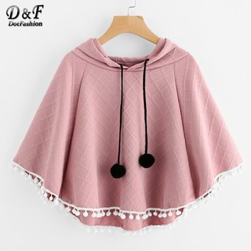 Pom Pom Trim Embossed Cape Hooded Blouse Autumn Ladies Pink Half Sleeve Kimono Top Female Cute Blouse