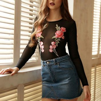 New Sexy Women Embroidery Floral Long Sleeve Jumpsuit Bodysuit Stretch Leotard Tops Blouse Bodycon Skinny See Through Jumpsuit