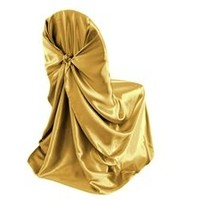 MDS Pack of 100 satin Universal Chair Cover for Wedding or Events Banquet / Folding Chair cover - Gold