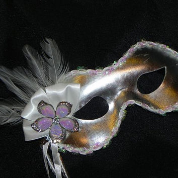Masquerade Mask in Silver and AB by TheCraftyChemist07 on Etsy