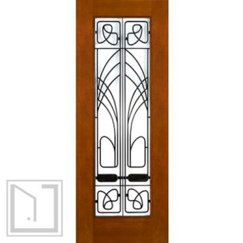 "2-1/4"" Thick Art Nouveau Mahogany Door Wrought Iron Low-E Glass"