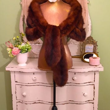EXQUISITE 30s 40s Rare Mink Fur Stole, Vintage 40s Fur Wrap, Long Mink Stole, Illusion w/ Velvet Interior, Wedding Opera Wrap, Fabulous!