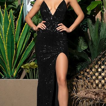 Shall We Dance Black Sequin Sleeveless Spaghetti Strap Plunge V Neck Low Back High Slit Maxi Dress