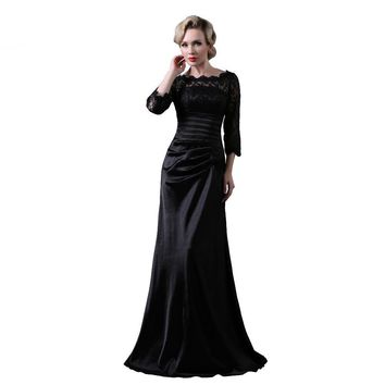 Black Lace Satin Evening Dresses 3/4 Sleeves Mermaid Long Formal Dresses Prom Gown