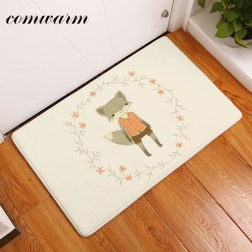 Comwarm door mats for outdoor entrance door mats loveing ethnic cute fox pringting carpets anti skid for living room use decor