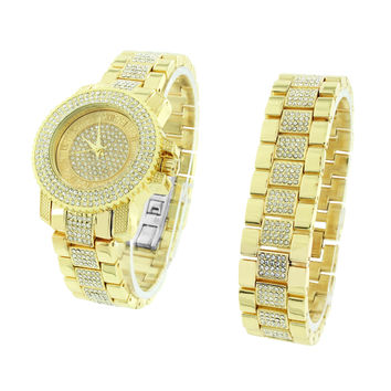 Gold Tone Watch Simulated Diamonds Iced Out Bracelet