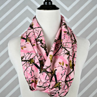 Flannel Circle Scarf - Handmade - Pink Camo
