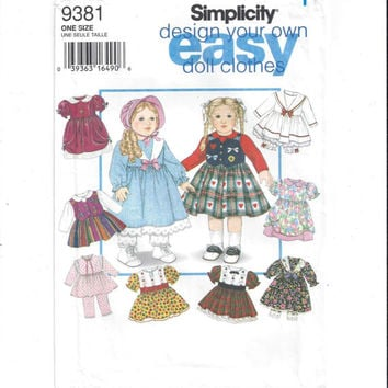 Simplicity 9381 Pattern for 18 Inch Doll Clothes, From 1995, Design Own Doll Clothes, Simplicity Crafts, Vintage Pattern, Easy Sew, Dress