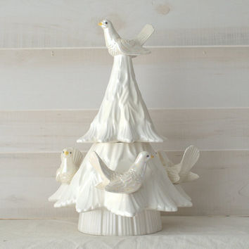 White Ceramic Christmas Tree with Dove Candle Holders