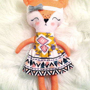 Toddler Toys. Fae the Girl Fox Doll. Customizable Dress Up Cloth Rag Doll. Animal Plushie. Gifts for Kids. Personalized Pretend Play Toys.