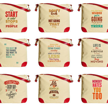 Inspirational Quotes  Beige Printed Canvas Leather Trap Tote Shoulder Bag WAS_33