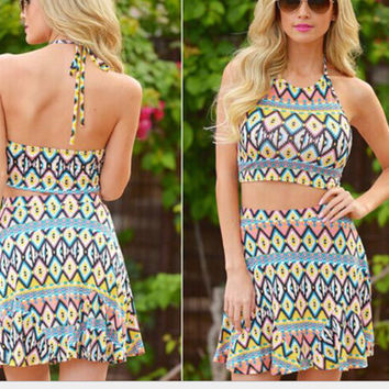 Geometric Pop Print Halter Top and Shorts Set