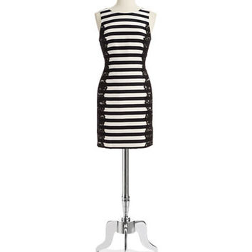 Eliza J Lace and Striped Shift Dress
